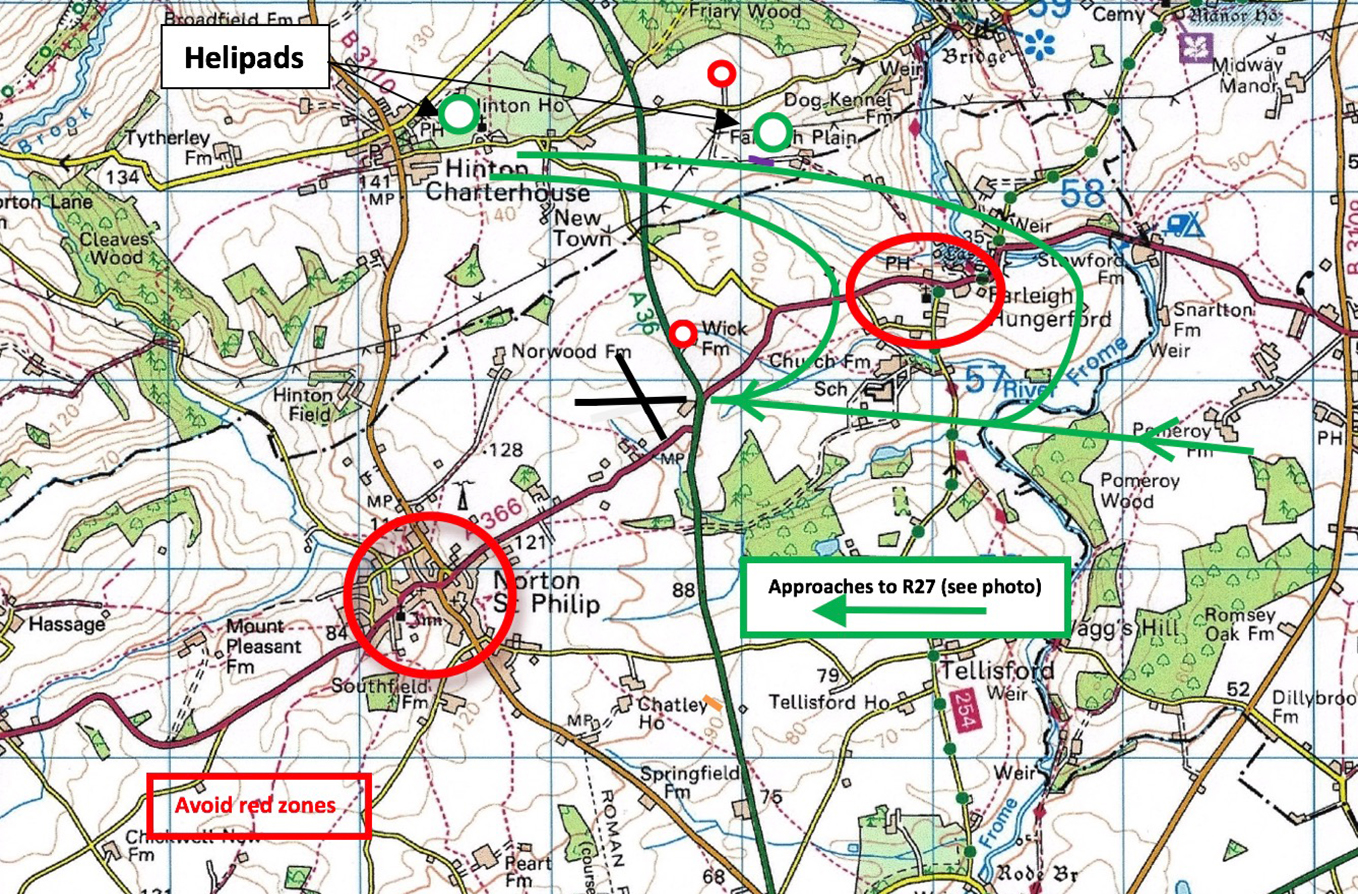 Map of Brown Shutters Farm Airfield showing noise abatement areas